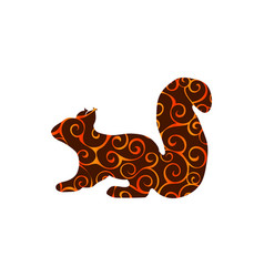 squirrel rodent mammal color silhouette animal vector image vector image