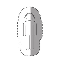 Sticker silhouette pictogram male with headphones vector