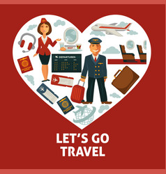travel poster of heart and traveling or vector image