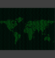 world map of binary digits vector image