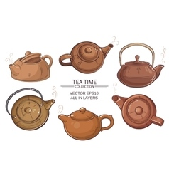 teapots set vector image