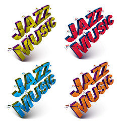 Set of 3d shattered jazz music words created vector
