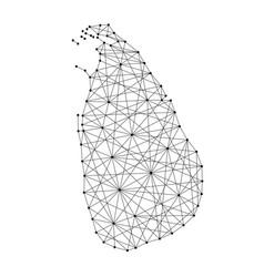 Map of sri lanka from polygonal black lines vector