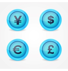 Currency signs on glossy icons vector