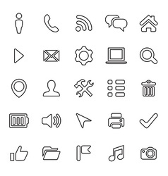 25 UI Outline Icons For Web and Mobile vector image