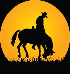 Cowboy in the wild horse vector