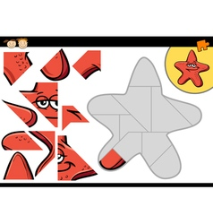 Cartoon starfish jigsaw puzzle game vector