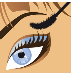 Beauty close up of a beautiful female eye mascara vector