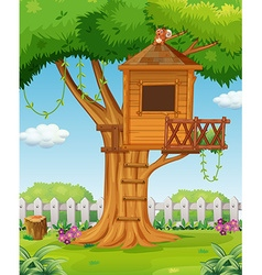 Treehouse in the garden vector