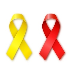 Cancer awareness red and yellow ribbons vector
