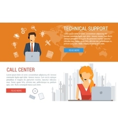 Two banners technical support flat style vector