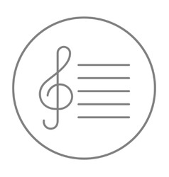 Treble clef line icon vector