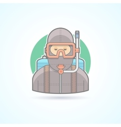 Diver scuba diving man with aqualung icon vector