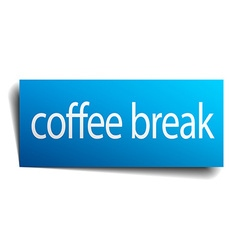 Coffee break blue paper sign isolated on white vector