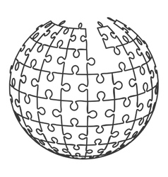 ball in puzzle pieces icon vector image