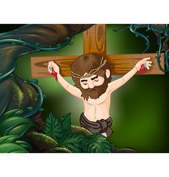A cross at the rainforest vector image