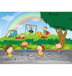 A group of happy children vector image vector image