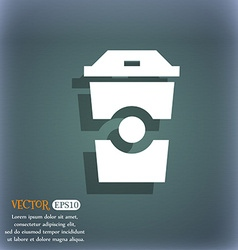 Breakfast Coffee icon On the blue-green abstract vector image