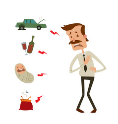 businessman heart risk man heart attack stress vector image