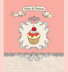 Cake cafe menu background bakery label sweet vector