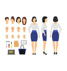 Cartoon business woman and constructor element vector