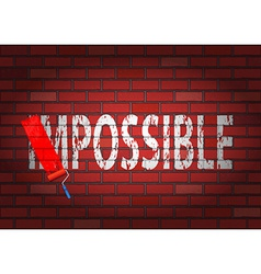 Changing the word impossible to possible vector