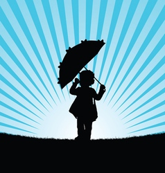 Child with umbrella in nature vector