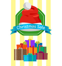 christmas sale poster with presents in color boxes vector image