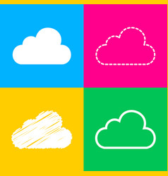 Cloud sign four styles of icon on vector