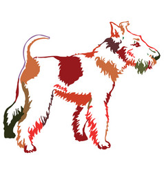 colorful decorative standing portrait of dog fox vector image