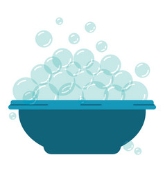colorful silhouette with bowl and soap bubbles vector image