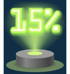 Green Neon Light Discount Sale 15 Percent vector image vector image