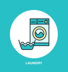 hand washing of clothes and washing machine vector image