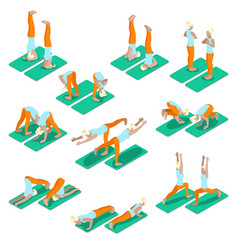 isometric woman yoga exercices set vector image