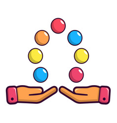 Juggler hands and balls icon cartoon style vector