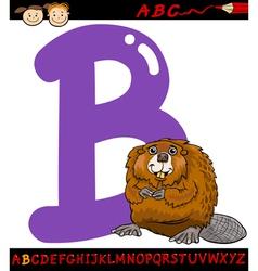 letter b for beaver cartoon vector image