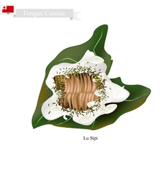 Lu sipi or tongan meat with coconut in taro leaf vector