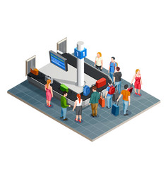 Luggage carousel isometric composition vector