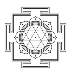 Monocrome outline durga yantra vector