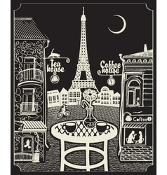 paris night cafe vector image vector image