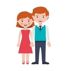 Redhead couple with taken hands vector
