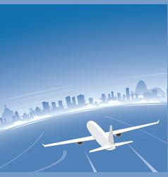 rio de janeiro skyline flight destination vector image