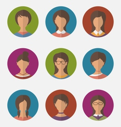 set colorful female faces circle icons trendy flat vector image vector image