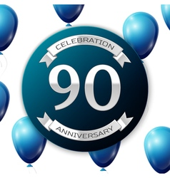 Silver number ninety years anniversary celebration vector
