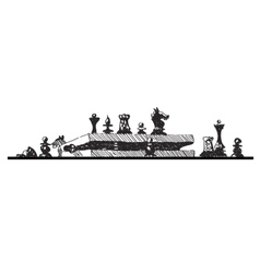 Sketch of chess pieces and box vector