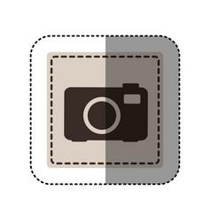 Sticker monochrome square with analog camera vector