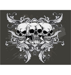 t-shirt design with skulls vector image vector image
