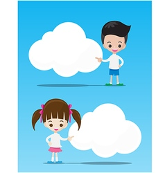 The kids boy and girl pointing at the blank cloud vector image vector image