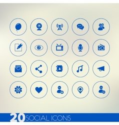 Thin simple social blue icons on light background vector