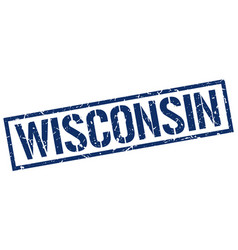 Wisconsin blue square stamp vector